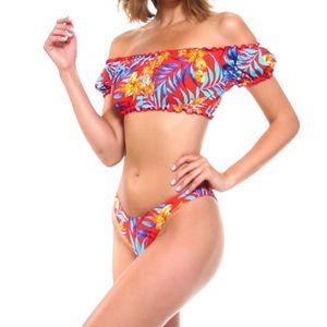 Envya Red Floral Bikini Large Off The Shoulder